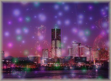 夜景 紫 合成