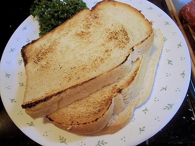 片面をトースト