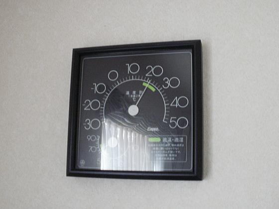 温度計は22℃を示しています。