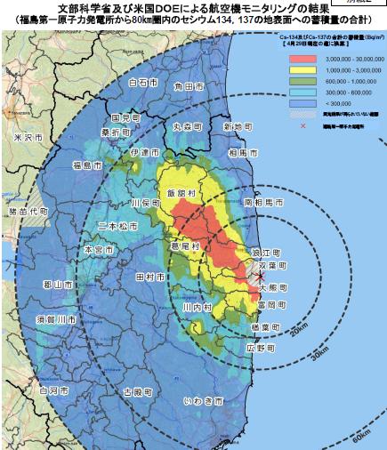 福島第一原子力発電所から80㎞圏内のセシウム134,137の地表面への蓄積量の合計
