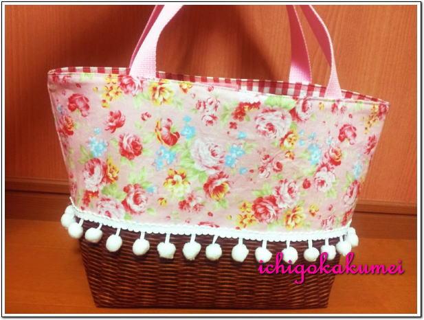 かご 花柄 トートバッグ