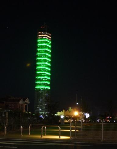 タワーのライトが緑の時は、「翌日、晴れ」の意味です
