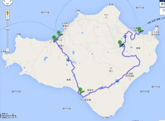 下が高松。右が小豆島で、左が直島。
