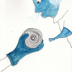 青いゴム手袋
