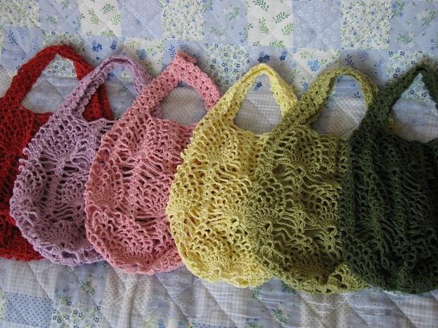 パイナップル編みバッグ6色
