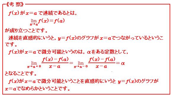 微分(Ⅲ) 連続と微分可能 考察