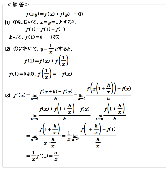 微分(Ⅲ) 関数方程式 演習87 解答