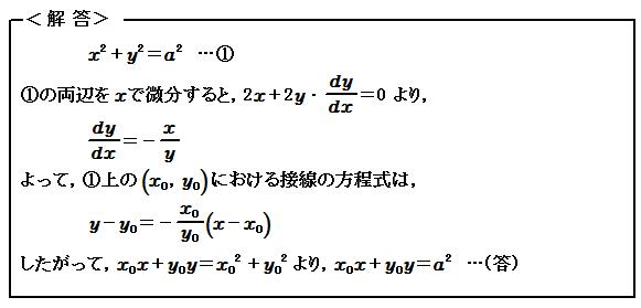微分(Ⅲ) 陰関数の微分 演習89 解答