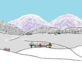 森の雪だるま
