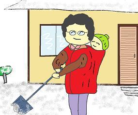 除雪する母ちゃん