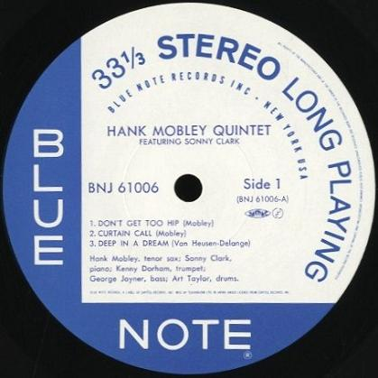 Hank Mobley Quintet Featuring Sonny Clark Blue Note BNJ 61006
