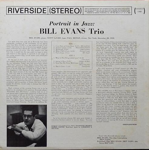 Bill Evans Portrait In Jazz Riverside RLP 1162-2
