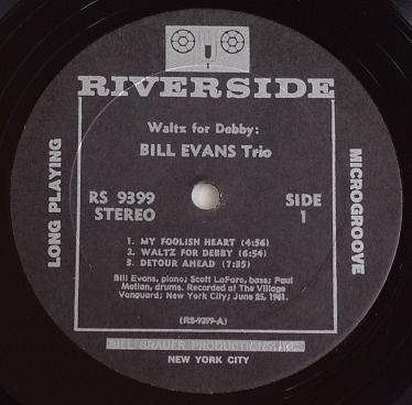 Bill Evans Waltz For Debby Riverside RS 9399 Label
