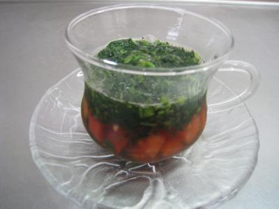 トマトとモロヘイヤのスープ