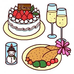 クリスマスケーキとチキンのイラスト