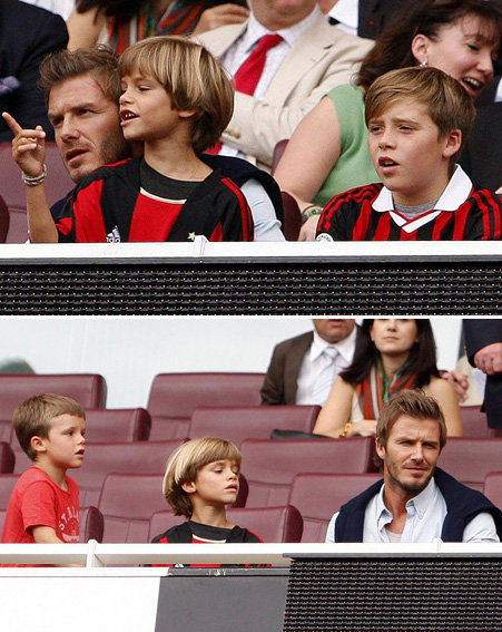 David Beckham and his sons Brooklyn, Romeo and Cruz