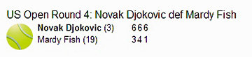 Djokovic 2010 US Open Tennis 4R result
