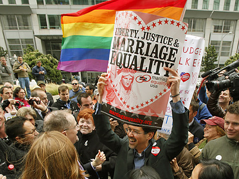 Backers of same-sex marriage in California immediately cheered a federal judge's decision to invalidate Prop. 8.