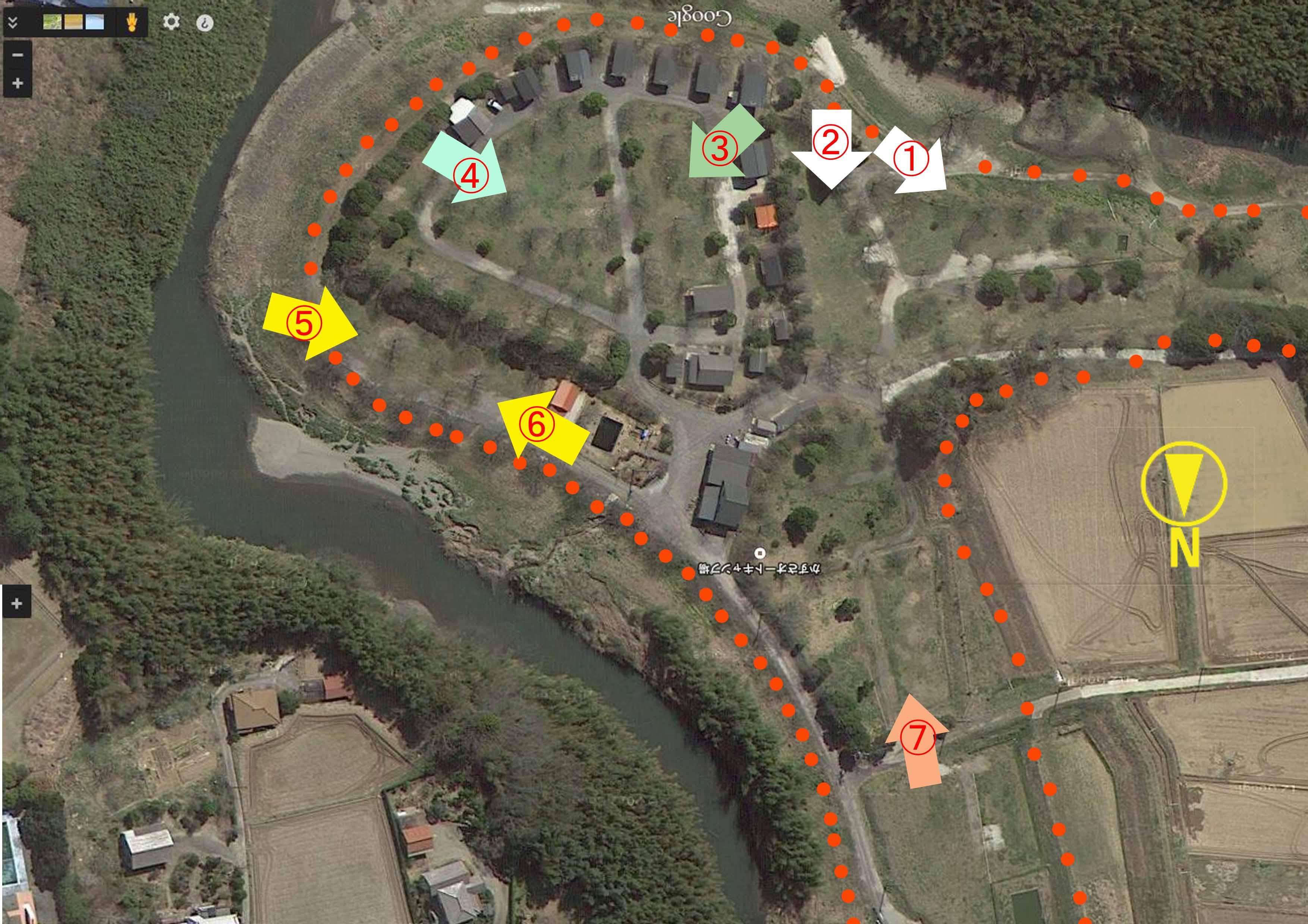 かずさオートキャンプ場マップ撮影方向のコピー