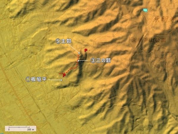 上原城地形図