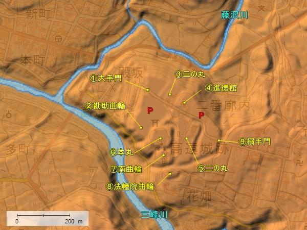 高遠城地形図