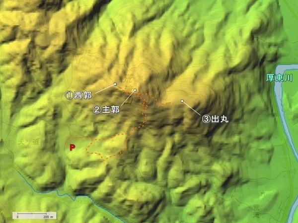 荒滝山城地形図