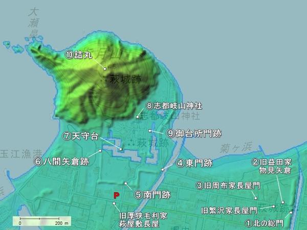 萩城地形図