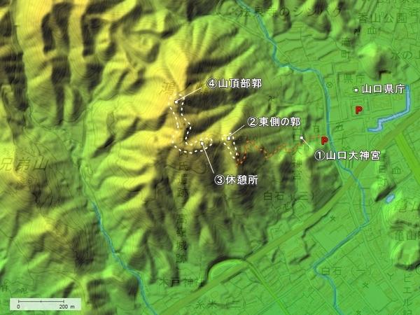 高嶺城地形図