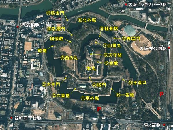 大阪城航空地図