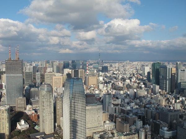 東京タワーよりスカイツリーを臨む