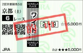 2011年2月12日(土)京都6R的中馬券