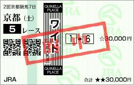 2011年2月19日(土)京都5R的中馬券