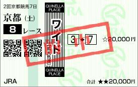 2011年2月19日(土)京都8R的中馬券