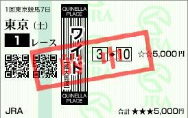 2011年2月19日(土)東京1R的中馬券