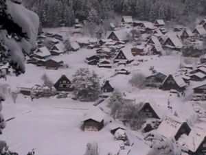 2月8日の白川郷 明日のライトアップは雪OK