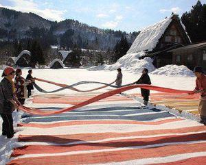 白川郷 冬の風物詩「雪さらし」2月13日 開催