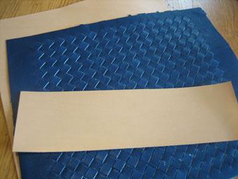 藍染めメッシュの表革