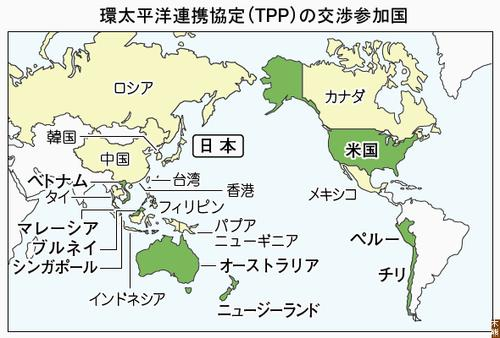 2010年11月現在のTPP参加交渉国(時事引用)
