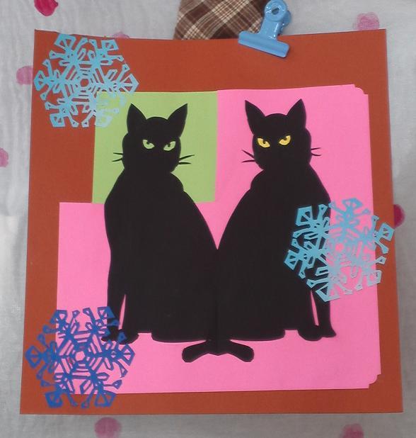 切り絵・雪と黒猫