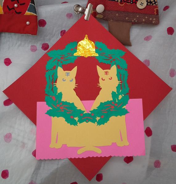 切り絵・猫リース (2)