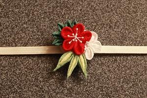 1月:つまみ細工で松竹梅の帯留め