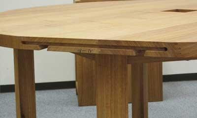 テーブル天板のホゾ穴