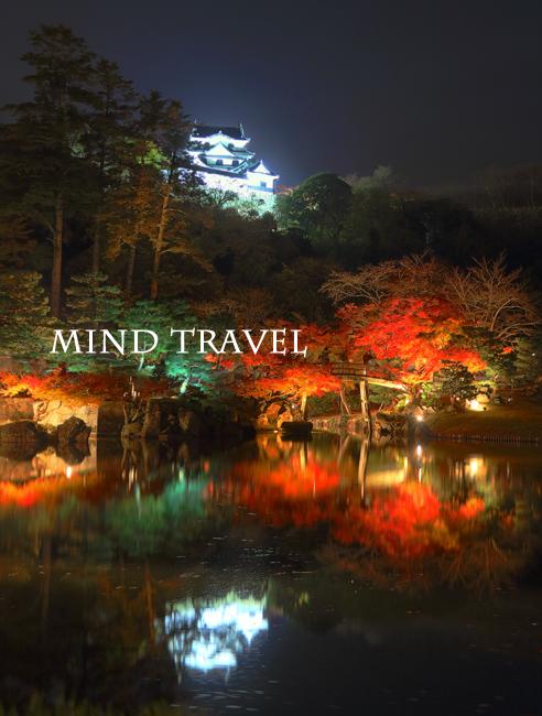 玄宮園より彦根城を望む 紅葉 ライトアップ