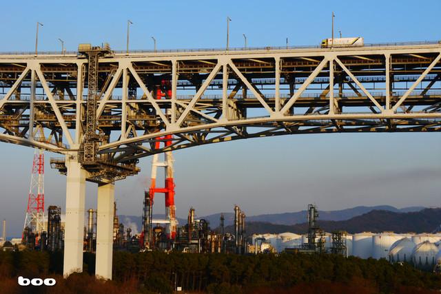 瀬戸大橋とコスモ石油工場