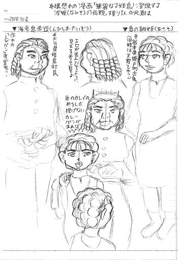 波姫の両親ラフ画