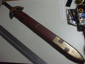 ロトの剣 鞘 製作過程 鋲取り付け後3