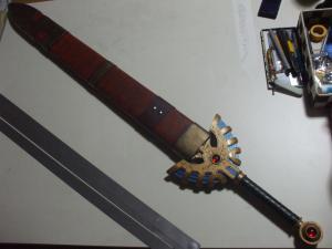 ロトの剣 鞘 製作過程 鋲取り付け後2
