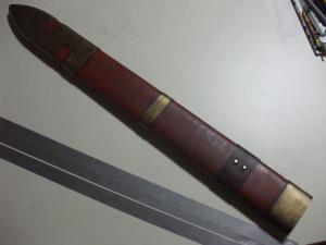 ロトの剣 鞘 製作過程 鋲取り付け後1