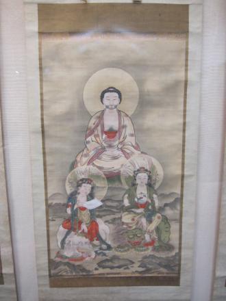 釈迦三尊図(島旦良画)