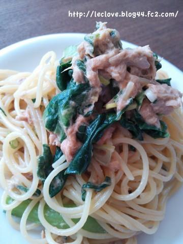 ツナと小松菜のオイマヨパスタ